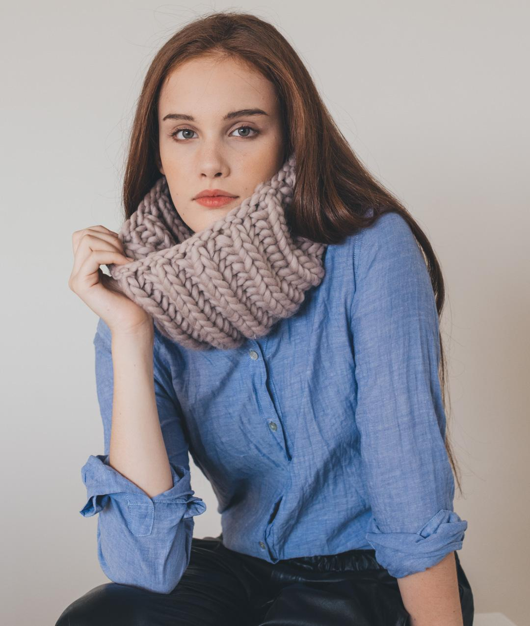 Scarves and Snoods - Wool - Brioche Collar - 1