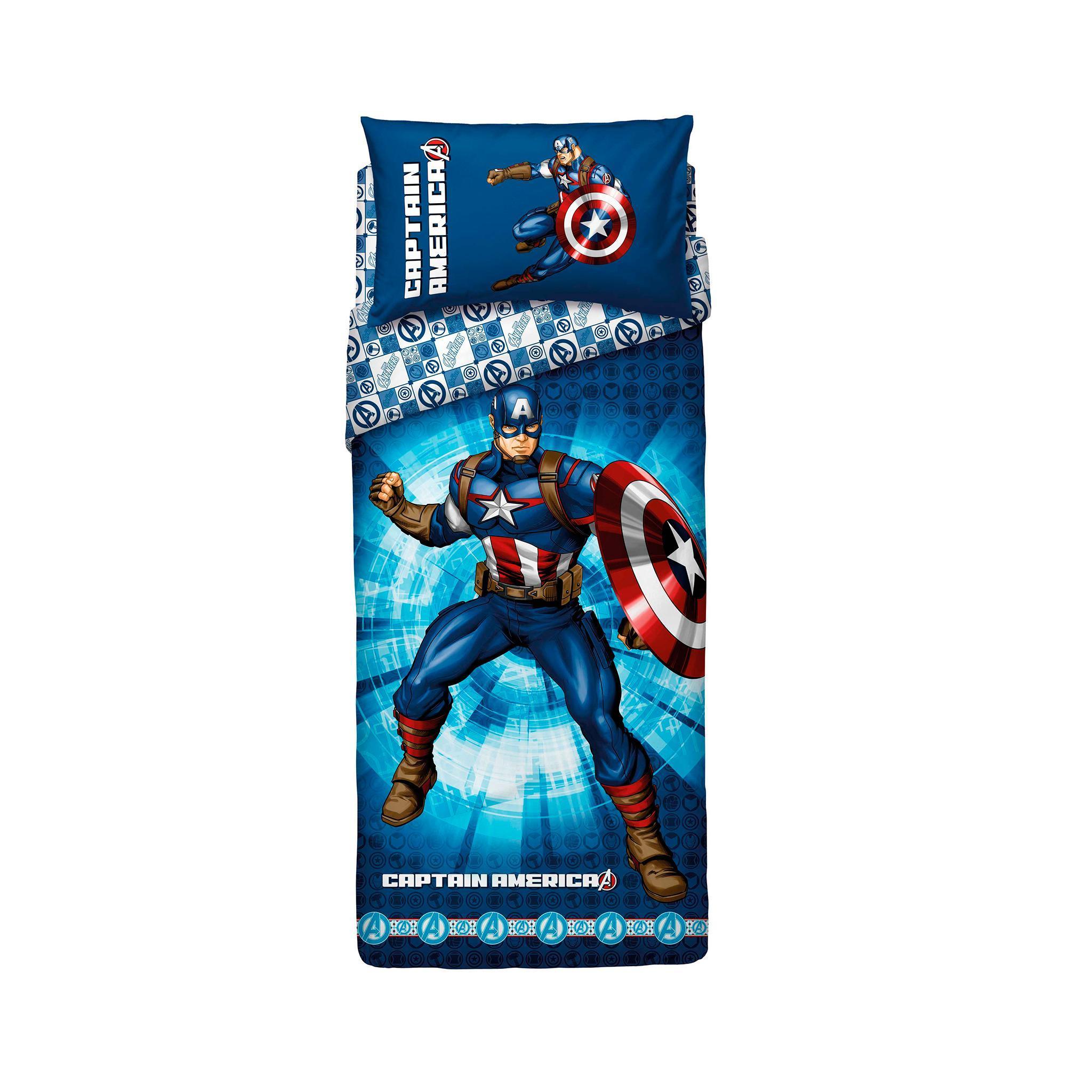 Capitan America Bassetti Set Copripiumino letto singolo Captain Avenger