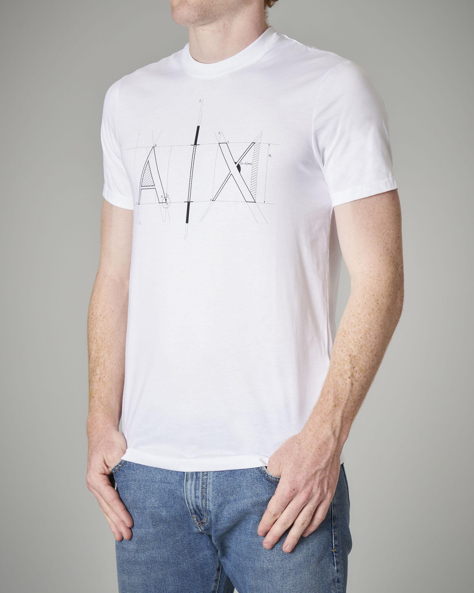 T-shirt bianca in cotone con logo geometrico