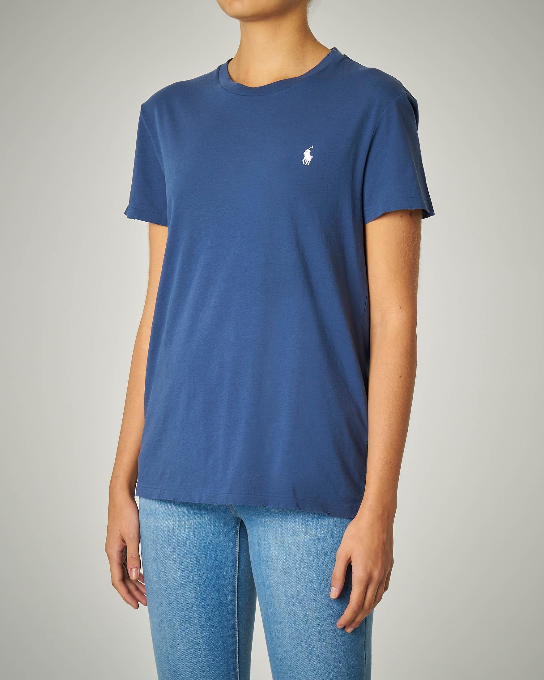 T-shirt girocollo in cotone blu