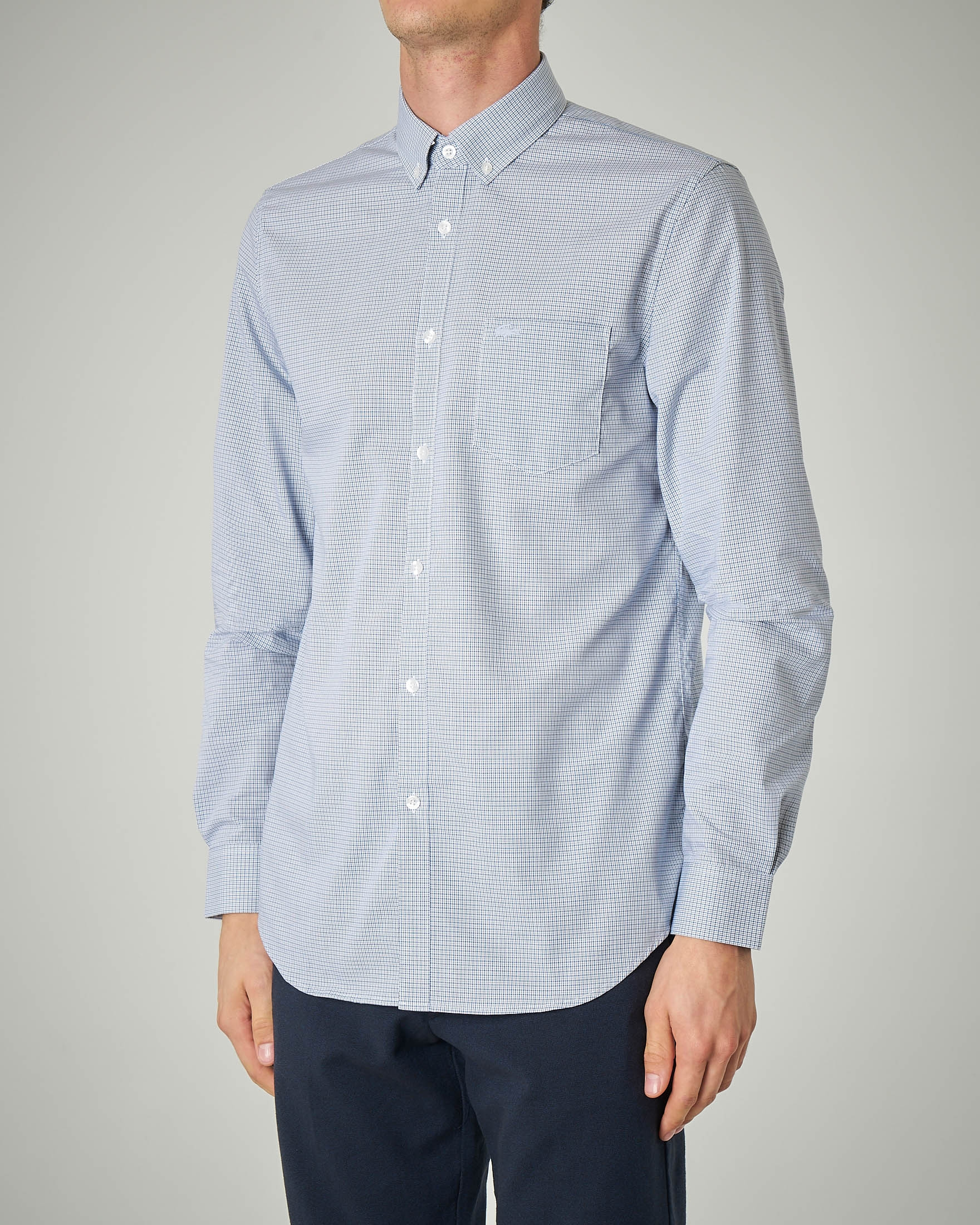 Camicia azzurra micro-quadretto button down con taschino