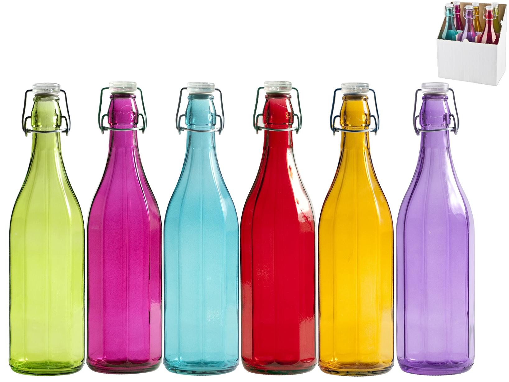 Acquista Set 6 Bottiglia Vetro Coste Colori 17505211   Glooke.com