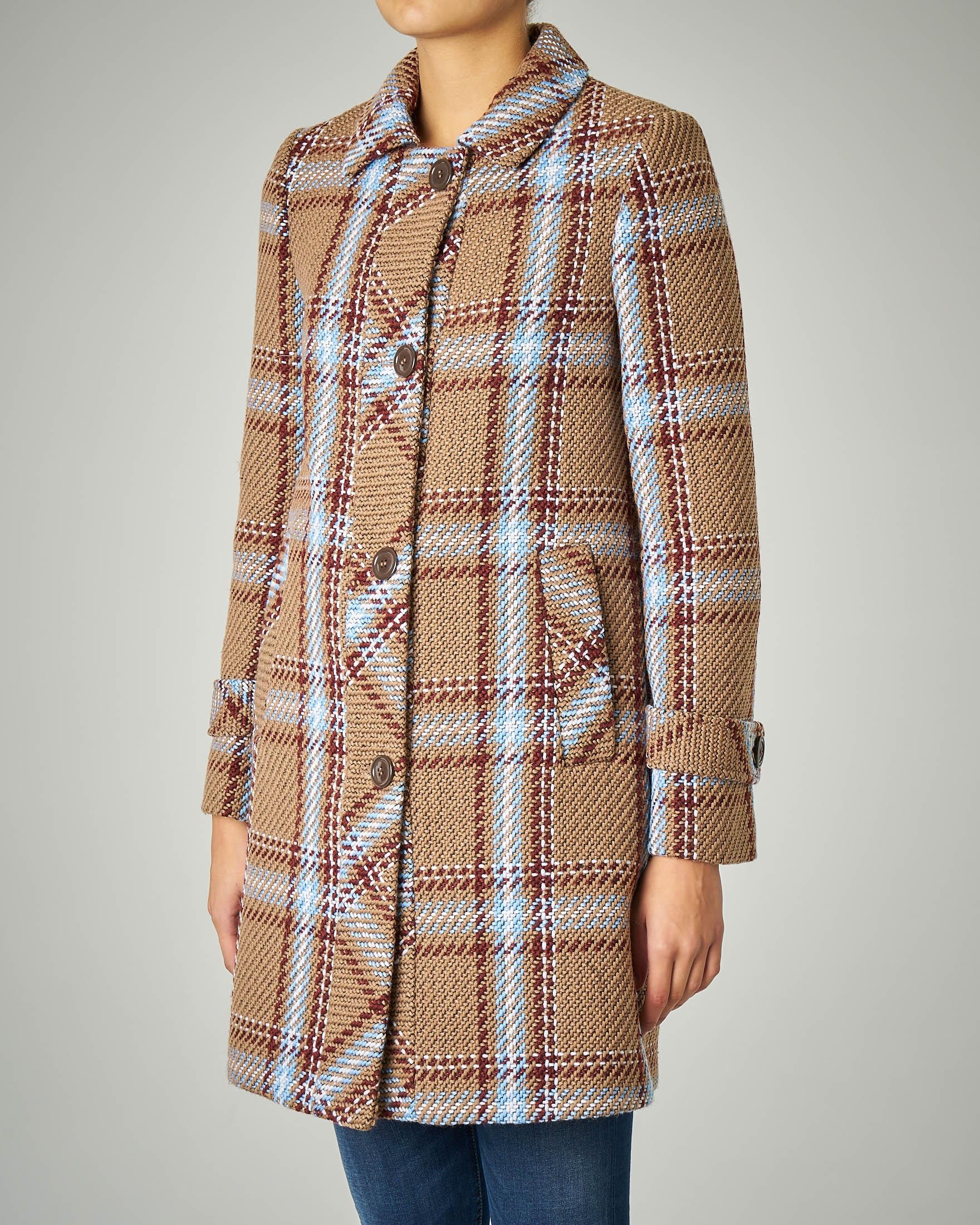 Cappotto cammello in misto lana fantasia check con inserti azzurri