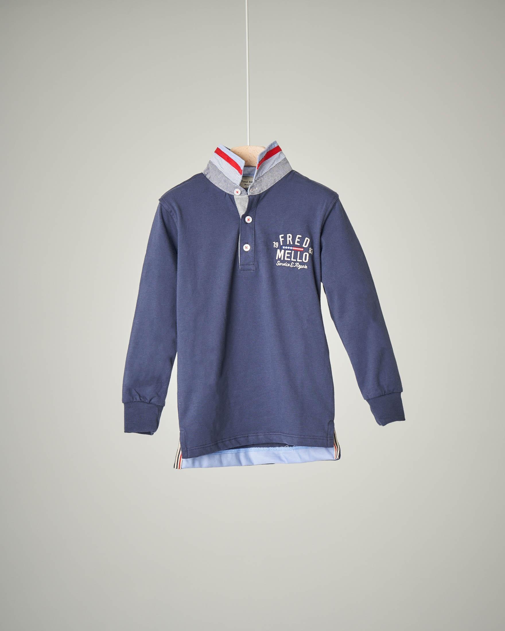 Polo blu colletto oxford