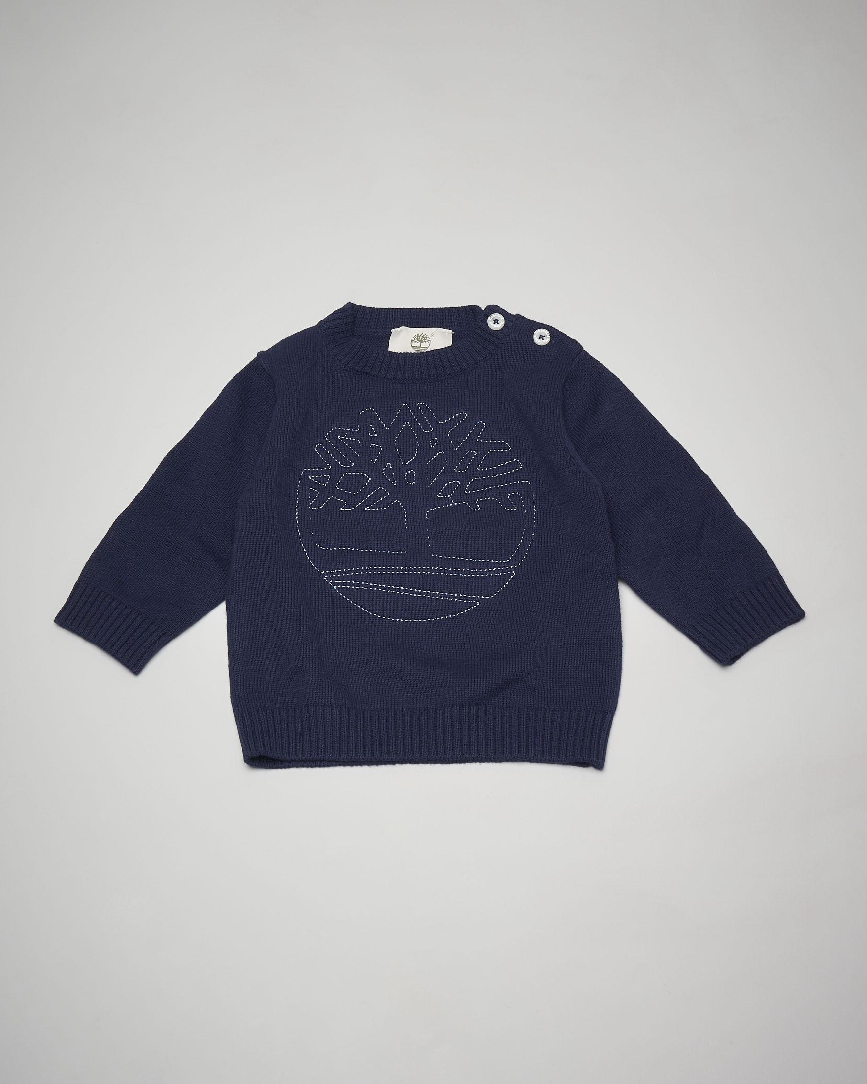 Maglia blu in cotone con ricamo albero