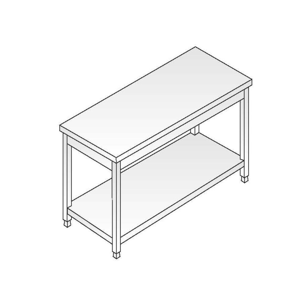 Tavolo a giorno smontato ACA Inoxline AISI 304 Gamba Quadra (L) 200 x (P) 70 cm