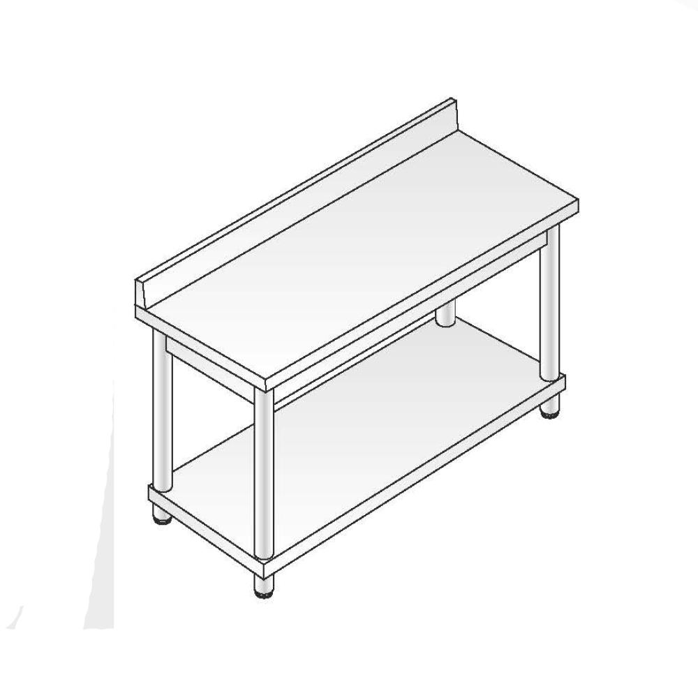 Tavolo a giorno smontato ACA Inoxline AISI 304 Gamba Tonda (L) 100 x (P) 60 cm con Alzatina