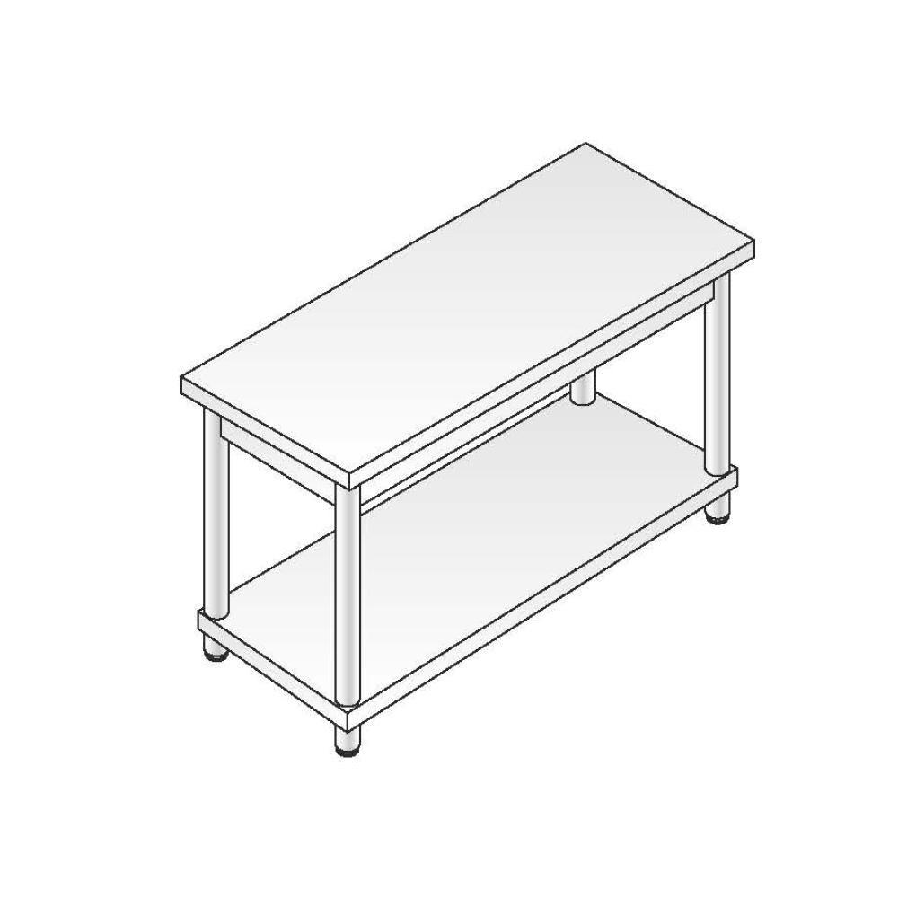 Tavolo a giorno smontato ACA Inoxline AISI 304 Gamba Tonda (L) 140 x (P) 70 cm