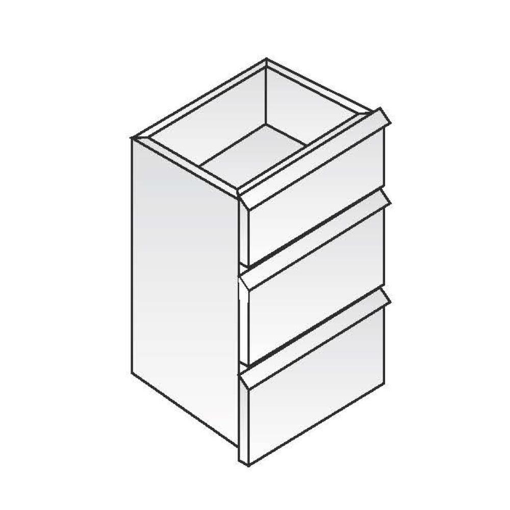 Cassettiera a riporto ACA Inoxline per Serie 60 - 3 Cassetti