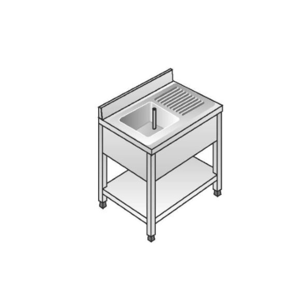 Lavello su Gambe smontato con Ripiano ACA Inoxline AISI 304 - 1 Vasca SX (L) 100 x (P) 60 cm