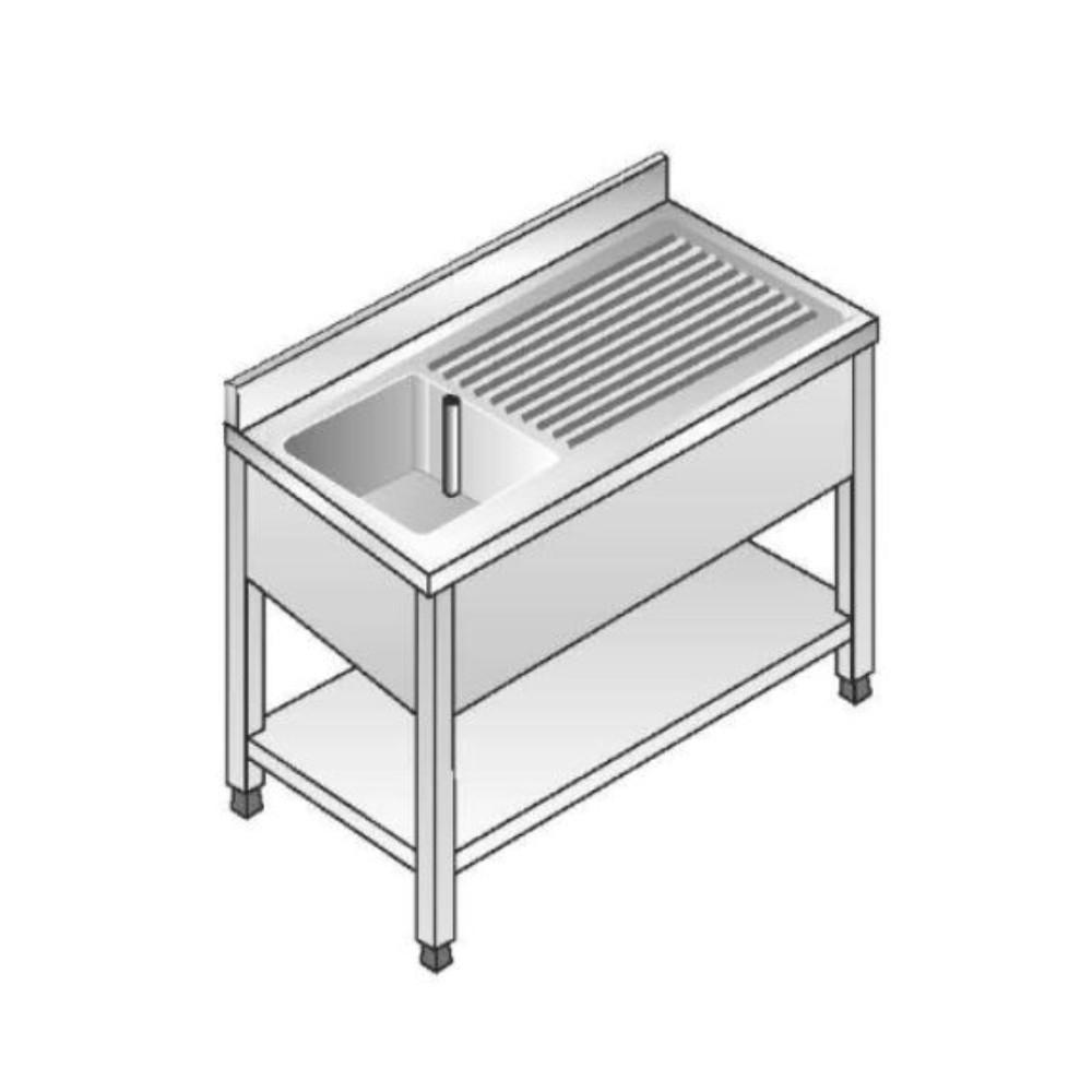 Lavello su Gambe smontato con Ripiano ACA Inoxline AISI 304 - 1 Vasca DX (L) 100 x (P) 60 cm