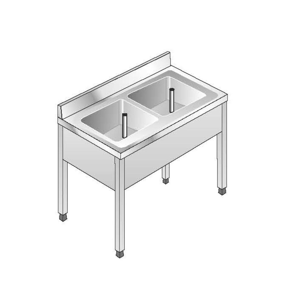 Lavello su Gambe smontato senza Ripiano ACA Inoxline AISI 304 - 2 Vasche (L) 120 x (P) 60 cm