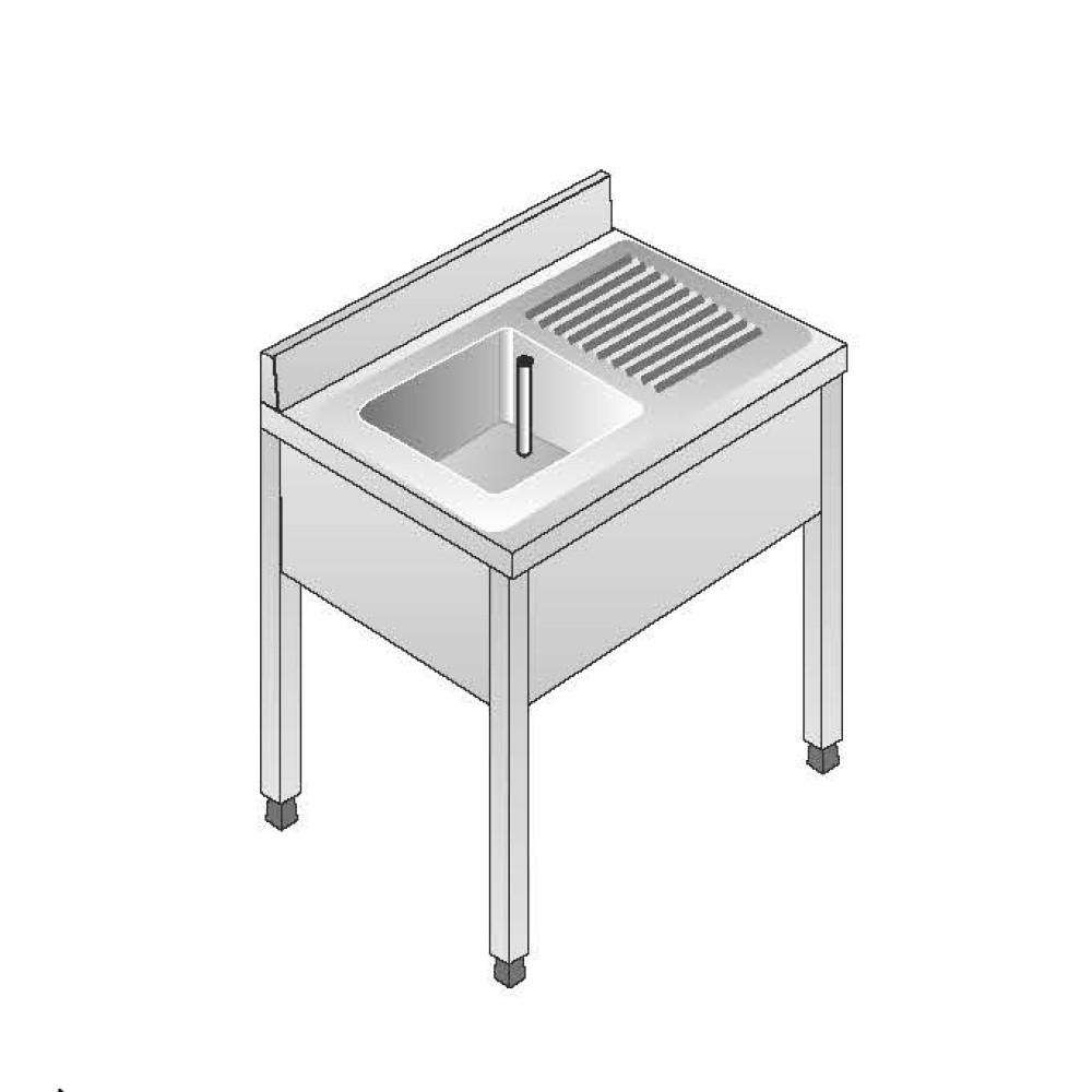 Lavello su Gambe smontato senza Ripiano ACA Inoxline AISI 304 - 1 Vasca DX (L) 100 x (P) 60 cm