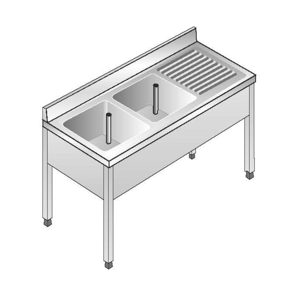 Lavello su Gambe smontato senza Ripiano ACA Inoxline AISI 304 - 2 Vasche DX (L) 140 x (P) 60 cm