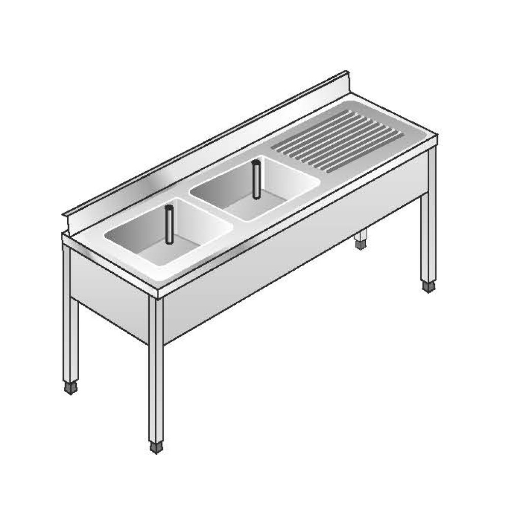 Lavello su Gambe smontato senza Ripiano ACA Inoxline AISI 304 - 2 Vasche DX (L) 180 x (P) 60 cm