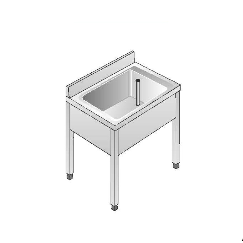 Lavello su Gambe smontato senza Ripiano ACA Inoxline AISI 304 - 1 Vasca (L) 70 x (P) 70 cm