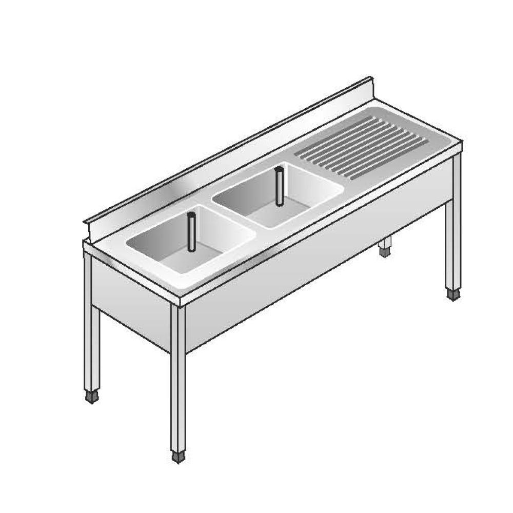 Lavello su Gambe smontato senza Ripiano ACA Inoxline AISI 304 - 2 Vasche SX (L) 180 x (P) 70 cm