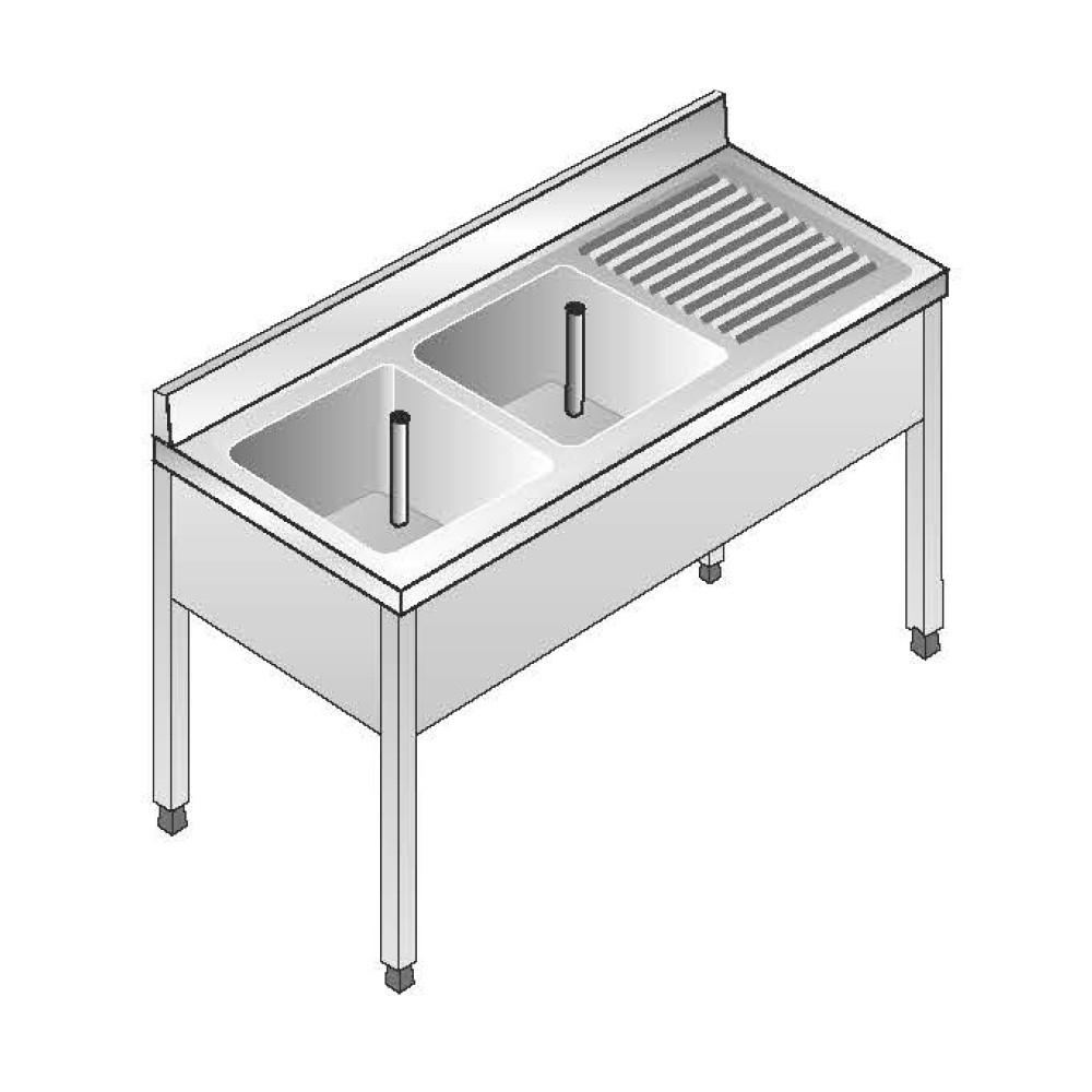 Lavello su Gambe smontato senza Ripiano ACA Inoxline AISI 304 - 2 Vasche DX (L) 140 x (P) 70 cm