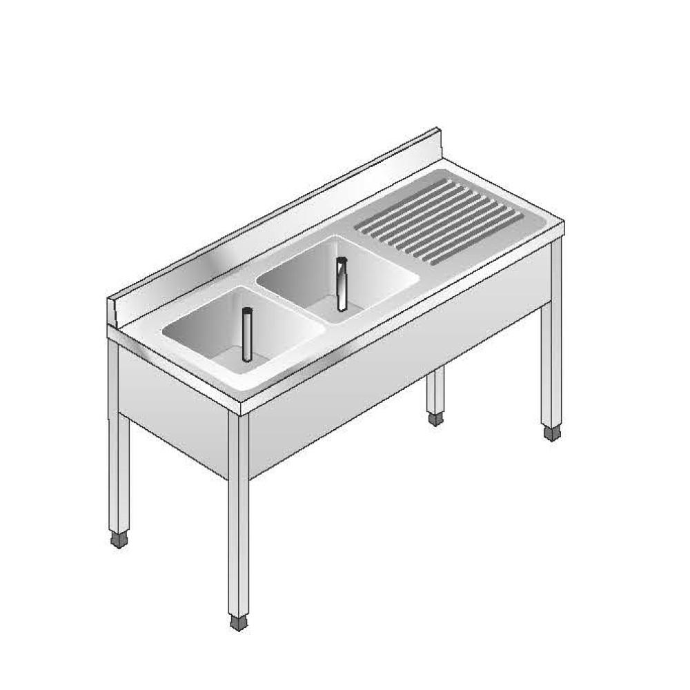 Lavello su Gambe smontato senza Ripiano ACA Inoxline AISI 304 - 2 Vasche DX (L) 160 x (P) 70 cm
