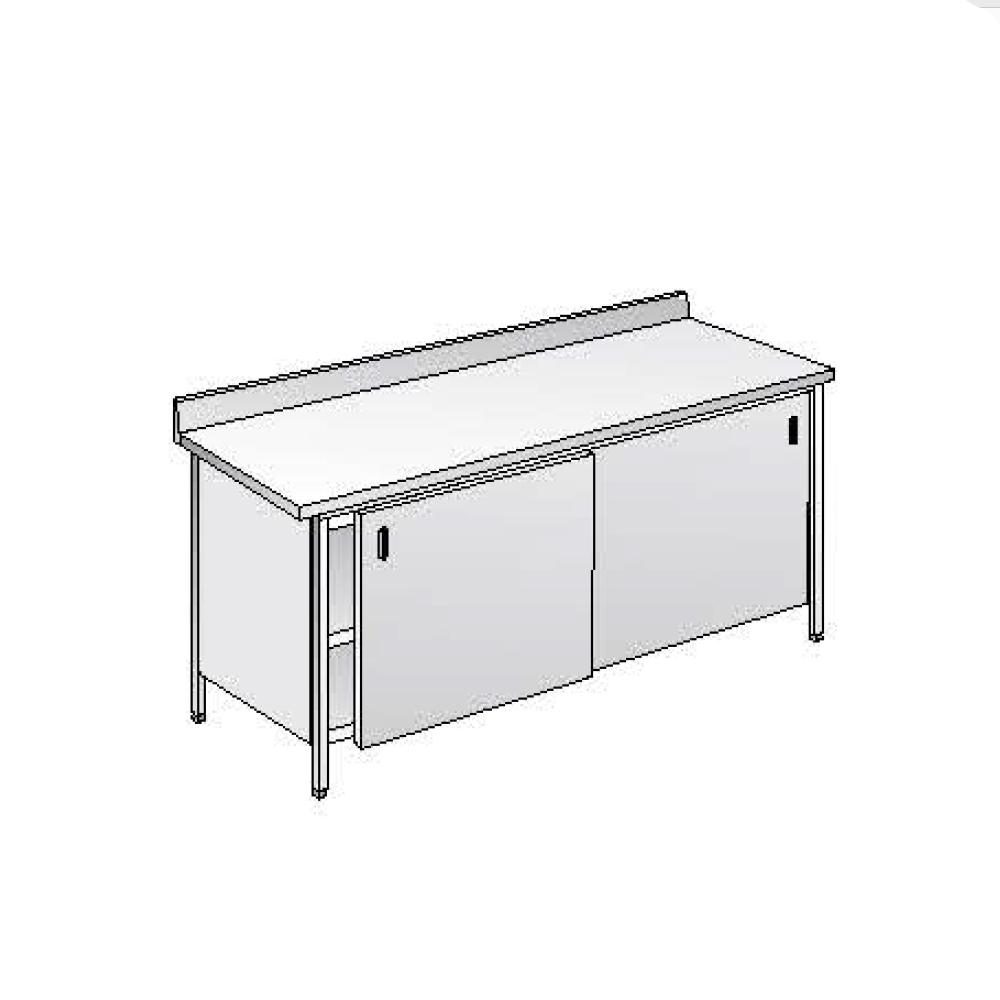Tavolo armadiato ACA Inoxline AISI 304 (L) 180 x (P) 60 cm con Alzatina