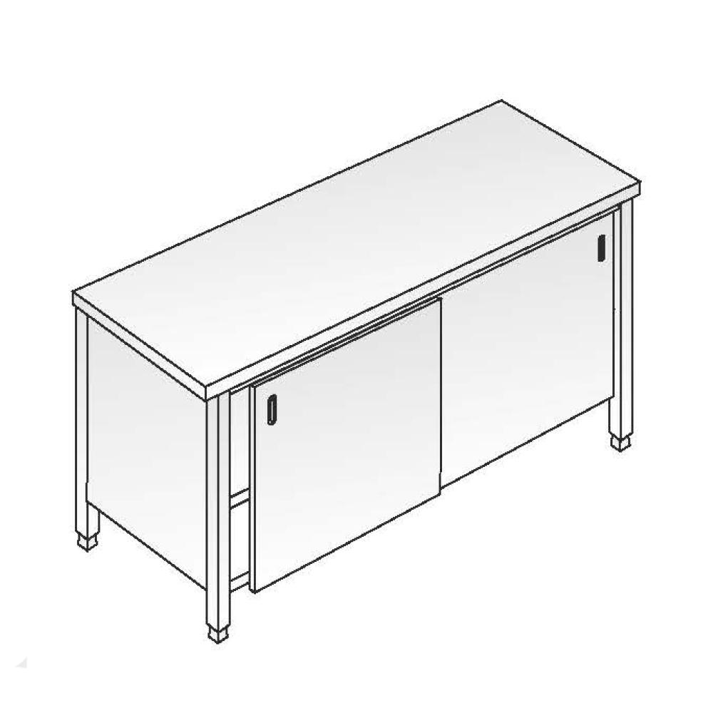 Tavolo armadiato ACA Inoxline AISI 304 (L) 200 x (P) 60 cm con Alzatina