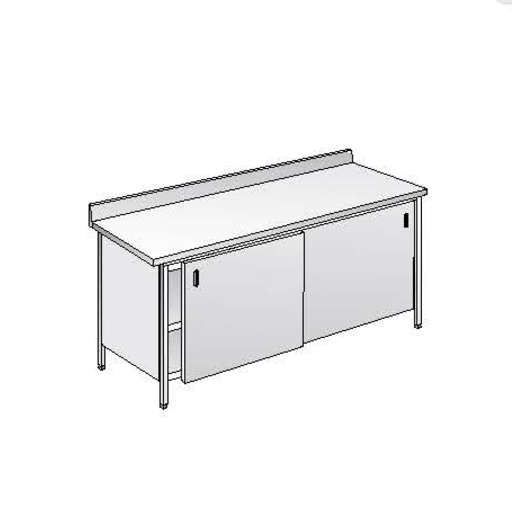 Tavolo armadiato ACA Inoxline AISI 304 (L) 140 x (P) 70 cm con Alzatina