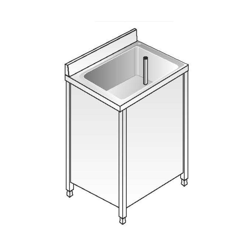 Lavello Armadiato ACA Inoxline AISI 304 - 1 Vasca (L) 60 x (P) 70 cm