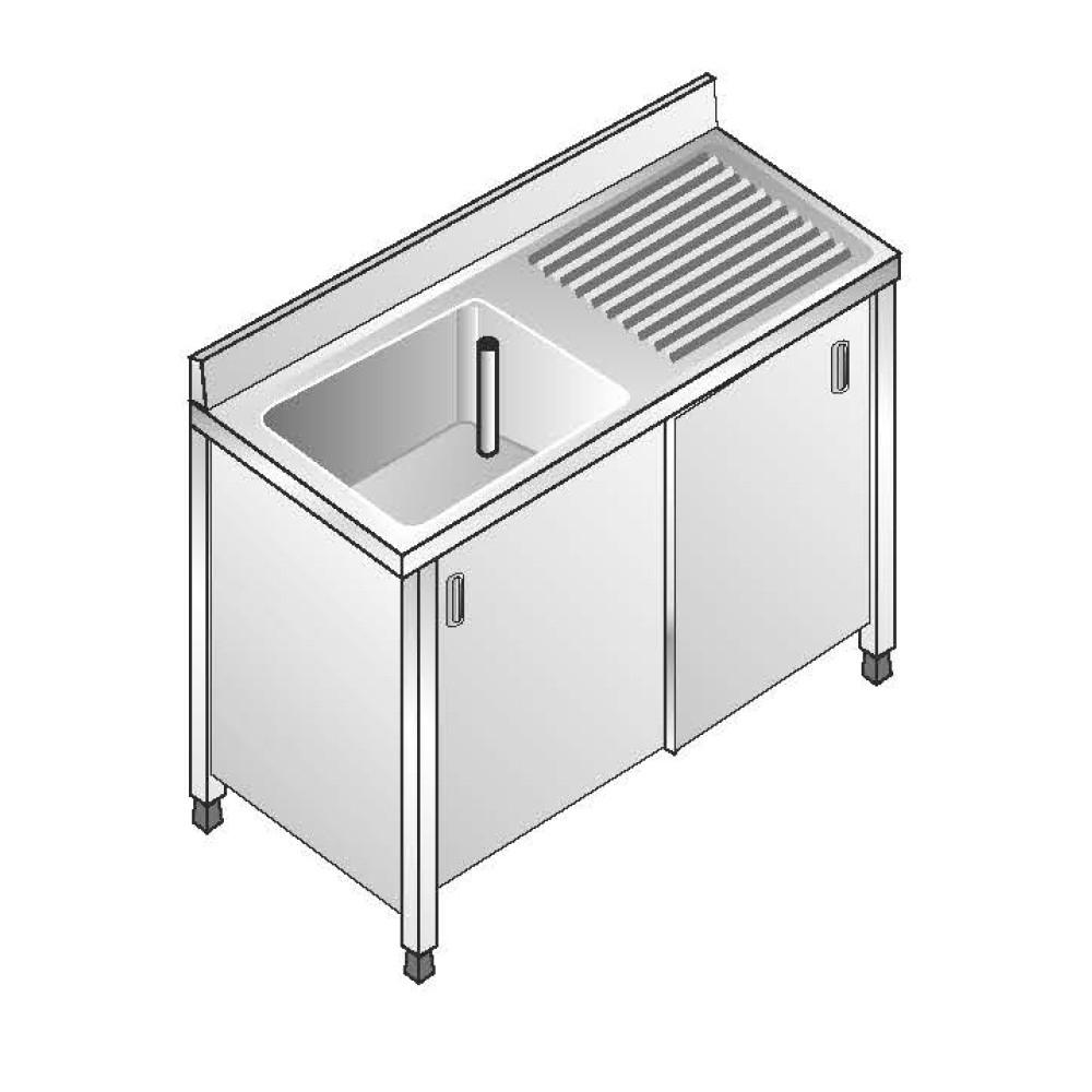 Lavello Armadiato ACA Inoxline AISI 304 - 1 Vasca SX (L) 100 x (P) 70 cm