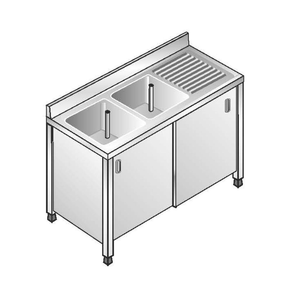 Lavello Armadiato ACA Inoxline AISI 304 - 2 Vasche DX (L) 140 x (P) 60 cm
