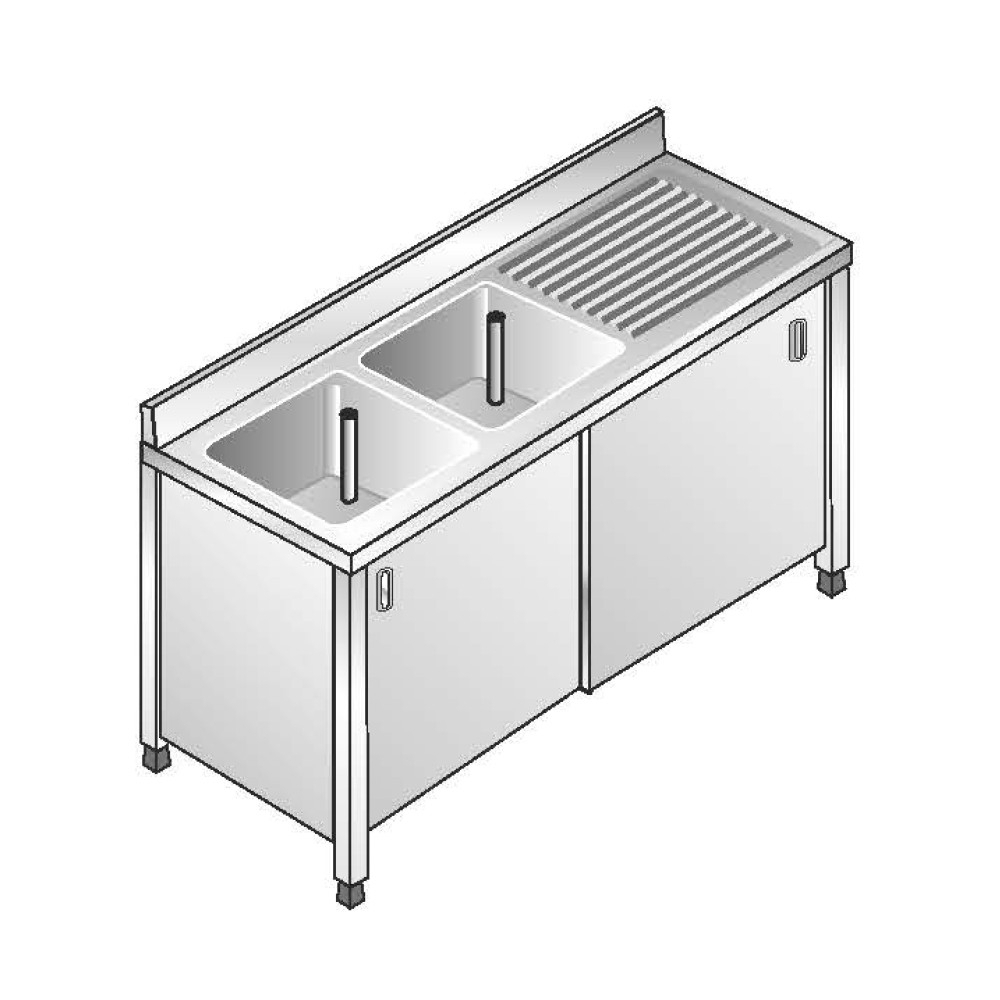 Lavello Armadiato ACA Inoxline AISI 304 - 2 Vasche DX (L) 160 x (P) 70 cm