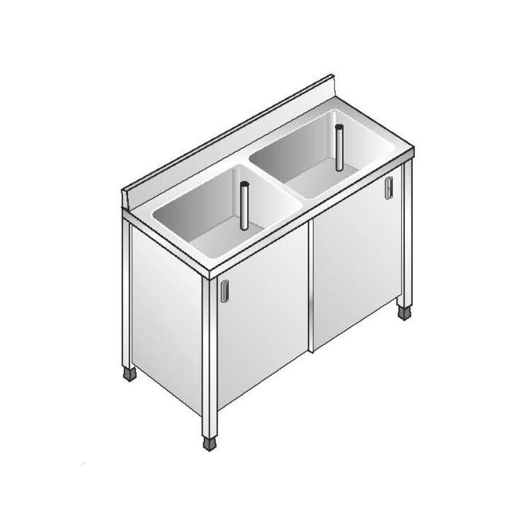 Lavello Armadiato ACA Inoxline AISI 304 - 2 Vasche (L) 140 x (P) 70 cm