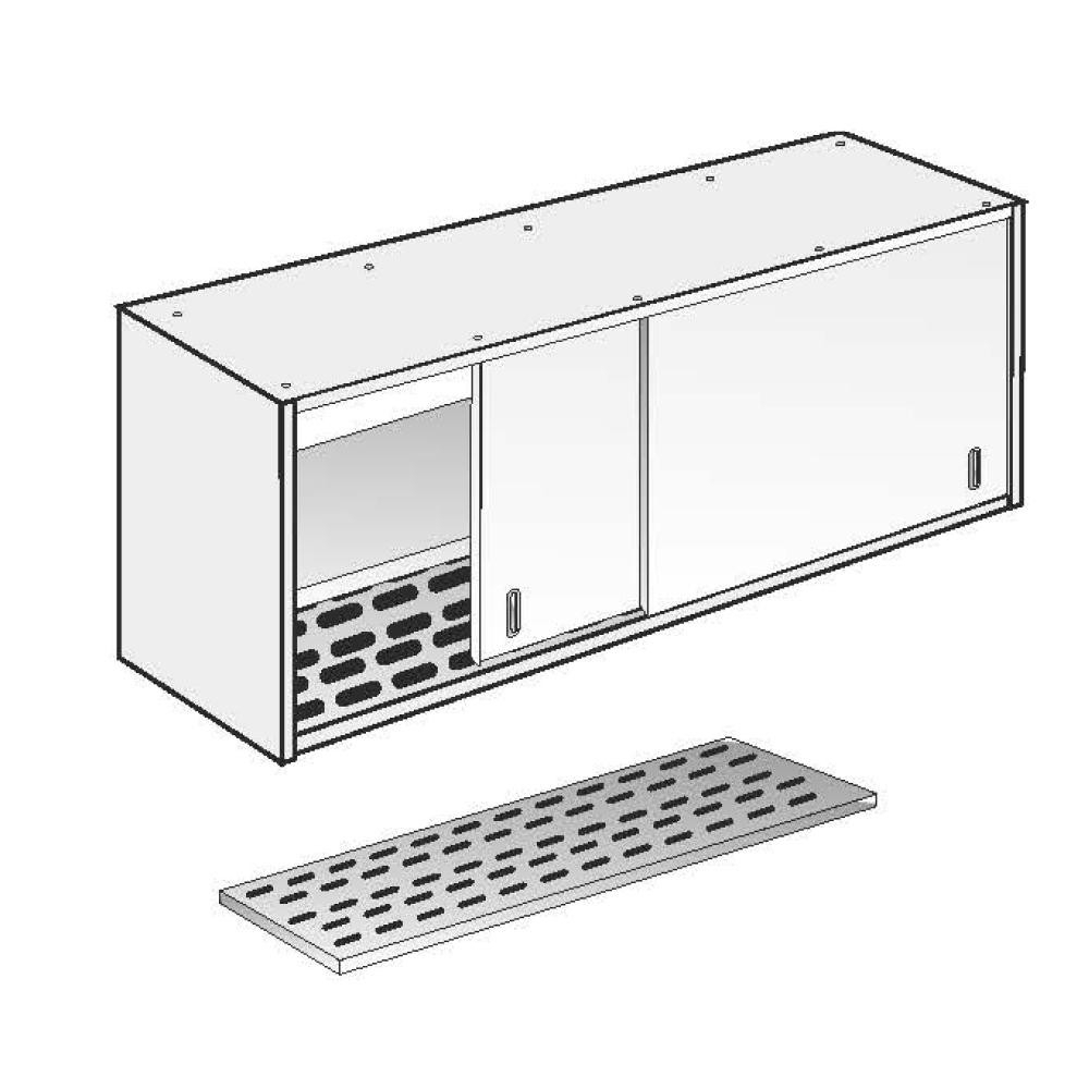 Armadio Pensile Fondo Asolato Fisso ACA Inoxline AISI 304 (L) 150 x (H) 60 cm