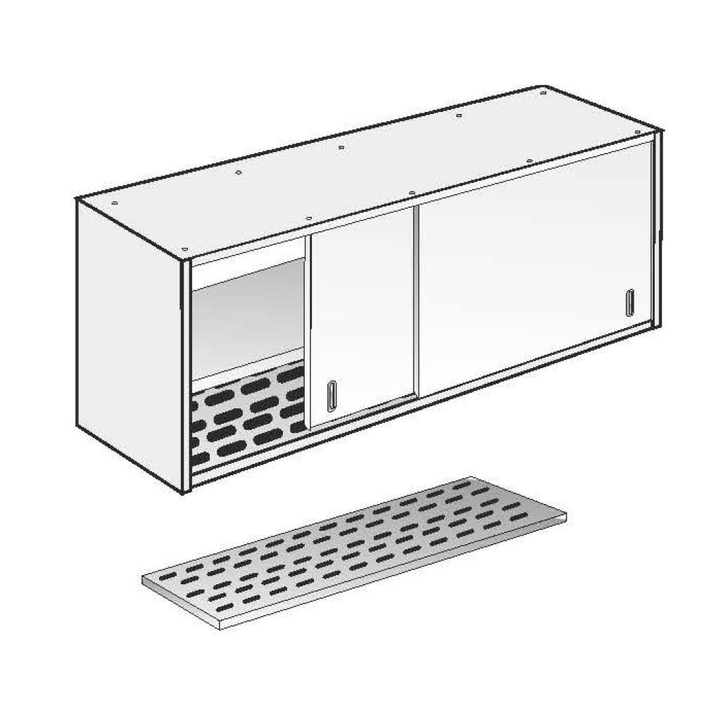 Armadio Pensile Fondo Asolato Fisso ACA Inoxline AISI 304 (L) 160 x (H) 60 cm