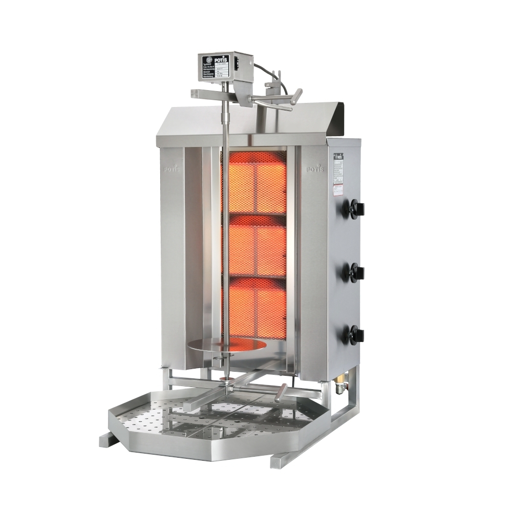 Gyros Grill Gas POTIS GD3 max. 40 kg - Altezza Spiedo 45 cm