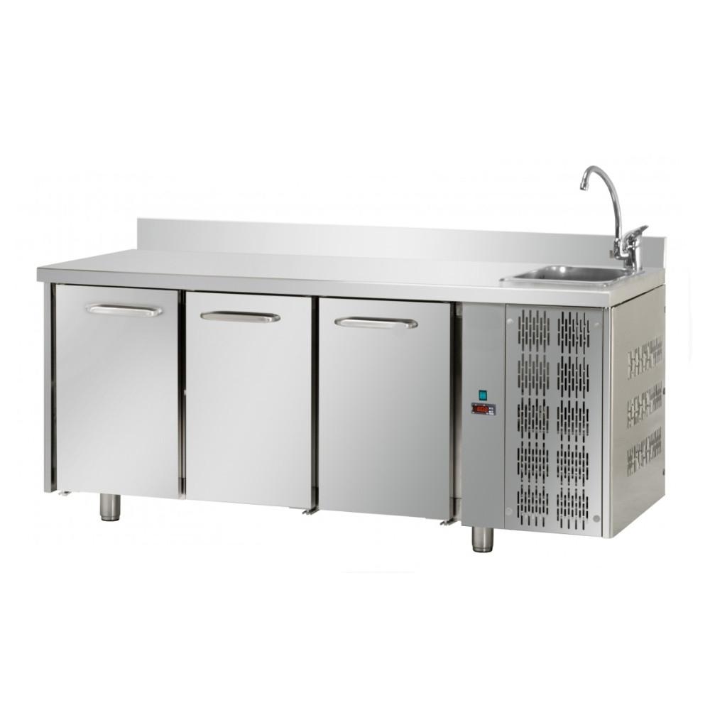Tavolo Refrigerato Positivo Tecnodom 3 Porte GN 1/1 con Alzatina e Lavello