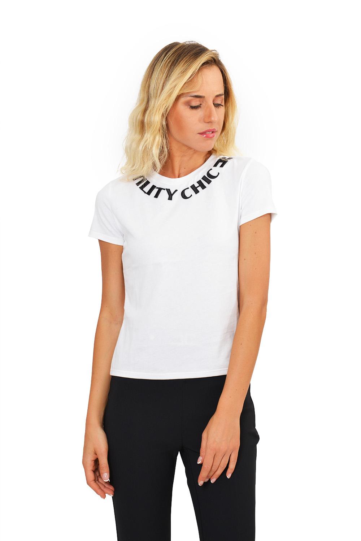 T-shirt Girocollo con Ricamo